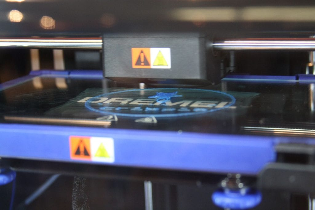 3D printer printing a project at the Berks LaunchBox